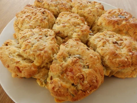 Tearing, sharing cheese and seed scones