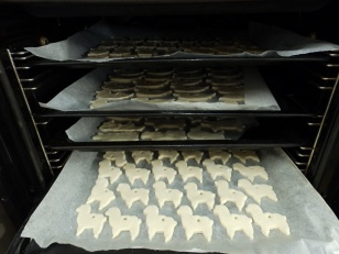 Salt dough sheep in the oven