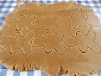 Cutting out gingerbread men