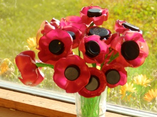 Poppies made from plastic bottles