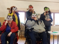 Group photo with Halloween masks