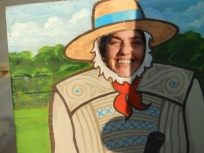 Jayne playing at being a farmer