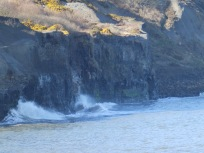 Waves breaking on the cliffs at Sandsend