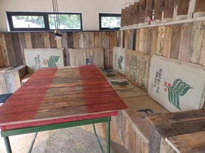 Table and coffee sacks