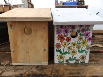 Nest boxes in two different states of completion