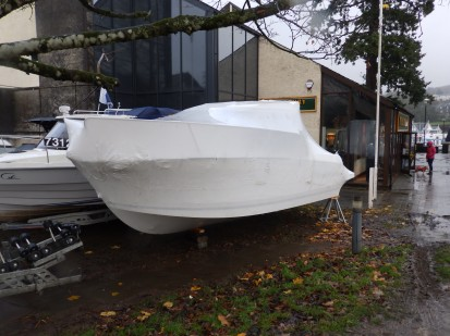 Shrink-wrapped boat at Bowness