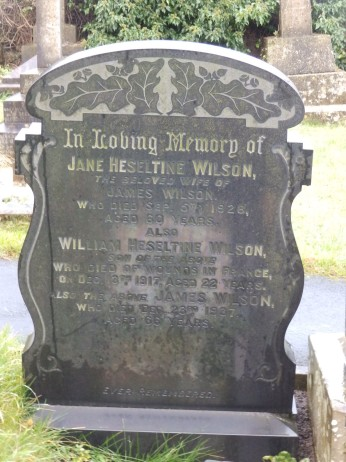 Great-grandmother's gravestone with W H Wilson's memorial inscriptio