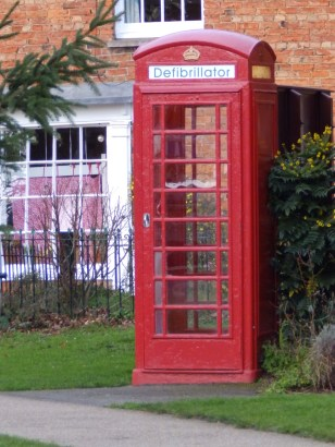 Phone box with defibrillator - Heckington