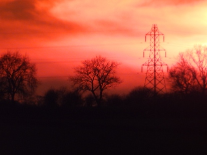 Sunset with pylon, near Codnor, Notts