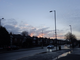 Sunset over Wollaton Road, Nottingham