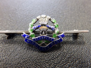 Silver and enamel sweetheart brooch