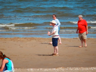 Someone is taking beach cricket too seriously