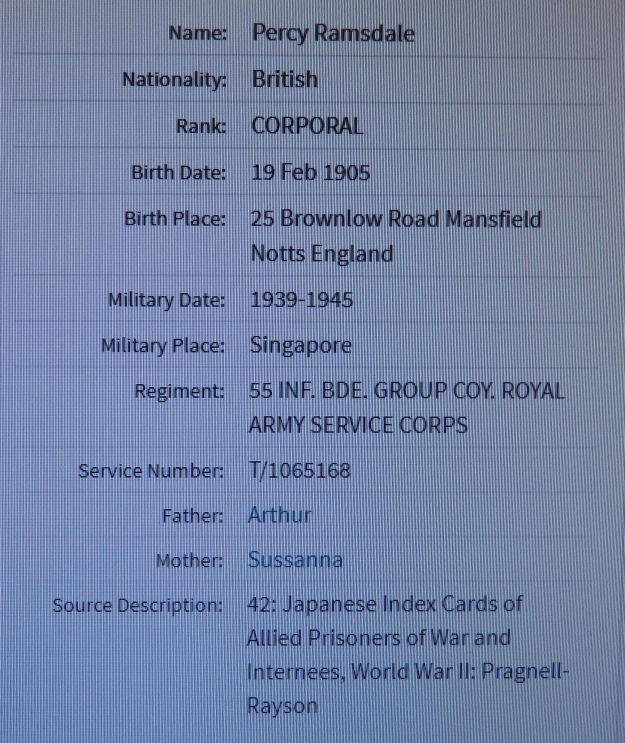 Screen shot of Percy Ramsdale's POW record
