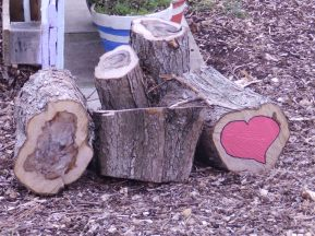 Heart on a log