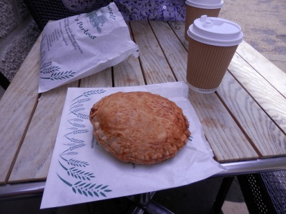 Bakewell - cheese pasty with cup for comparison