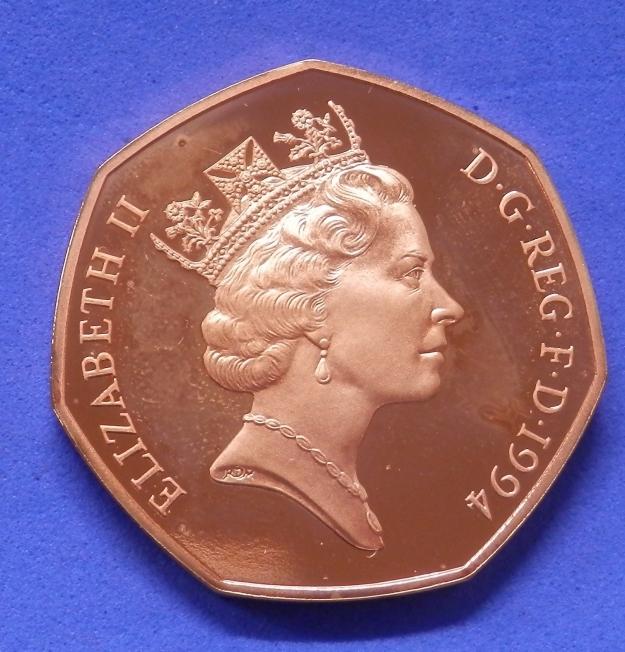 1994 22 carat gold 50p