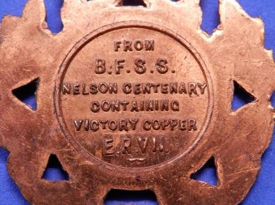 Copper Fob HMS Victory BFSS 1905