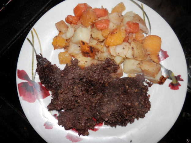 Haggis and root vegetables