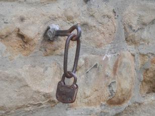 A large padlock