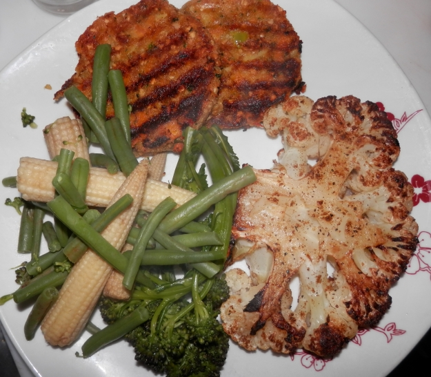 Cauliflower Steak with vegetables and Nut Cutlets