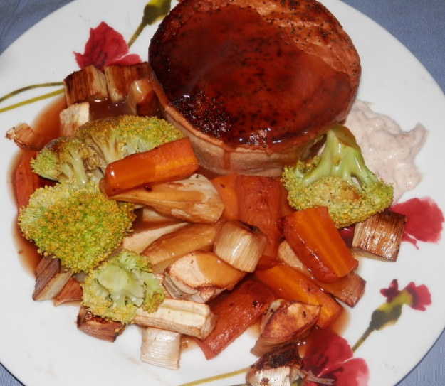 Pie, gravy and roasted veg
